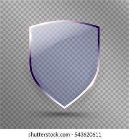 Transparent Shield. Safety Glass Badge Icon. Privacy Guard Banner.  Protection Blue Shield Concept. Decoration Secure Element. Defense Sign. Conservation Symbol. Vector illustration