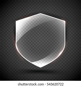 Transparent Shield. Safety Glass Badge Icon. Privacy Guard Banner.  Protection Shield Concept. Decoration Secure Element. Defense Sign. Conservation Symbol. Vector illustration