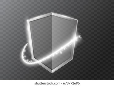 transparent shield with  sparkles lighting effects curve trail   .Vector illustration .Vector illustration