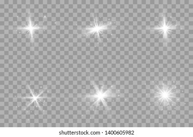 The transparent shining sun, bright flash. Star on transparent background. Sparkling magic dust particles. Bright Star.
