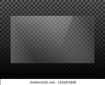 Transparent shiny glass plate. Plastic sheet. Clear glass showcase on a transparent background. Realistic window, laptop or TV screen glare or reflection vector illustration