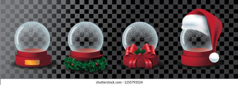 Transparent snow globe collection with golden plaque, holly, bow, and Santa Claus hat. Eps10 vector illustration.