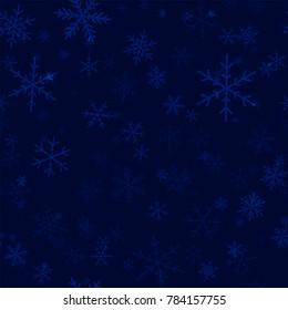 Transparent snowflakes seamless pattern on dark blue Christmas background.
