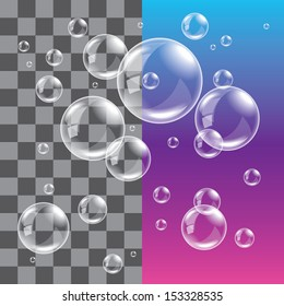 Transparent soap bubbles on dark background photo realistic vector