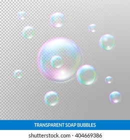 Transparent soap bubbles. Realistic soap bubbles. Rainbow reflection soap bubbles. Isolated vector illustration