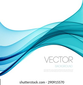 Transparent soft lines on white. Turquoise color.  Vector smooth blue abstract waves. For cover book, brochure, flyer, poster, magazine, website, app mobile, annual report, cosmetics, perfumes
