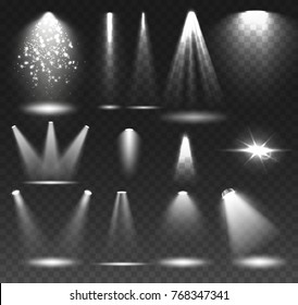 Transparent Spotlights Illumination on Dark Background