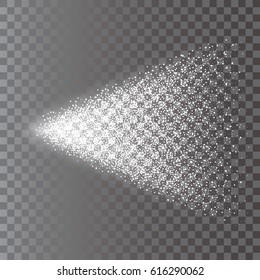 Transparent spray of fine white particles on the background. 3d vector illustration