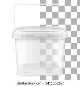 Transparent square empty plastic pail with handle for storage of foodstuff, butter, paint or plaster. Front view. Vector packaging template illustration.