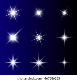 transparent star vector symbol icon design. Beautiful illustration of glowing light effect stars bursts with sparkles on transparent background for christmas card
