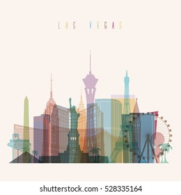 Transparent styled Las Vegas state Nevada skyline detailed silhouette. Trendy vector illustration