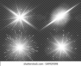 Transparent sunlight lens flare light effect. Star burst with sparkles. Vector illustration