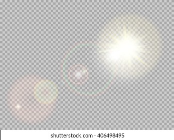 Transparent sunlight special lens flare light effect. Sun flash with rays and spotlight. EPS 10 vector file included
