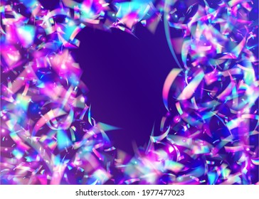 Transparent Tinsel. Iridescent Effect. Shiny Design. Blue Blur Glitter. Surreal Art. Light Sparkles. Luxury Foil. Disco Multicolor Wallpaper. Violet Transparent Tinsel