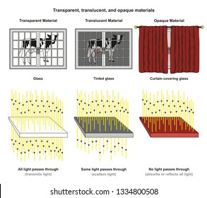 Transparent Translucent and Opaque Materials infographic diagram with examples of glass tinted glass and curtain and light transmit scatter absorb or reflect for physics science education