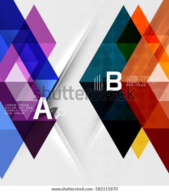 Transparent triangle tiles banner. Vector template background for workflow layout, diagram, number options or web design