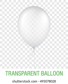 Transparent vector balloon, isolated on background. Realistic balloon illustration for party, celebration, festival, birthday or branding design decoration.