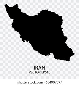 Transparent - Vector black map of Iran, Vector illustration eps 10.