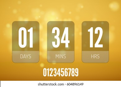 Transparent vector countdown timer. Clock counter.
