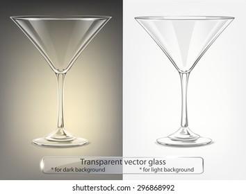 Transparent vector glass goblets for dark and light background