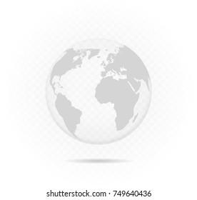 transparent vector globe. Glass globe map