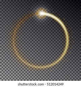 Transparent vector golden light frame with sparkles isolated on dark background. Shiny particles and flares on magic ring illustration.
