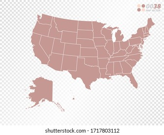 Transparent vector map of United States of America (USA)