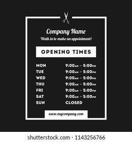 Transparent Vector Opening Time Hours Window Sticker Hairdresser or Salon