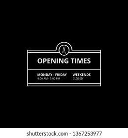 Transparent Vector Opening Time Hours Window Sticker Hairdresser