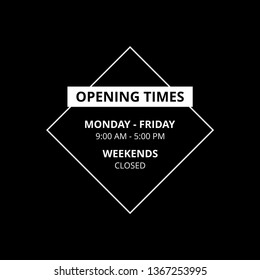 Transparent Vector Opening Time Hours Window Sticker Retail