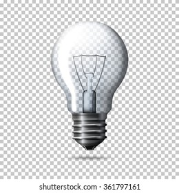 Transparent vector realistic light bulb isolated on plaid background.