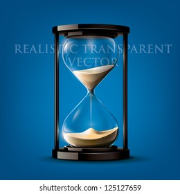 Transparent vector sand clock on blue background