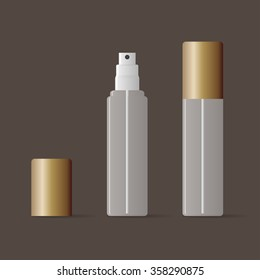 Transparent vector spray bottle mock up with bronze cover.