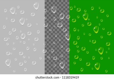 Transparent vector water drops set.