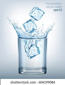 Transparent vector water splash in glass of water on light background.
