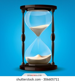 Transparent and very realistic vector sand clock on blue background