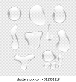 Transparent water drop set on light gray background. Custom shapes water bubbles with glares and highlights. Vector illustration EPS 10