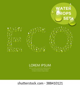 Transparent water drops shaped the word ECO.