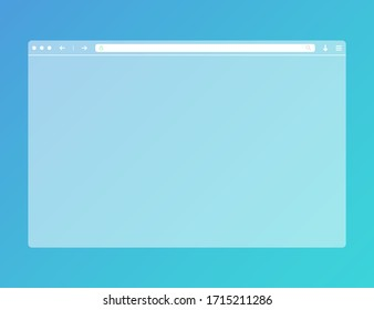 Transparent web browser mockup in modern flat design. Computer blank template frame. Isolated design. Vector EPS 10