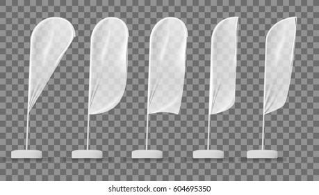 Transparent White Blank Expo Banner Flag Template. EPS10 Vector