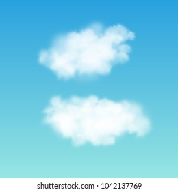 Transparent white cloud on the sky. Realistic vector illustration.