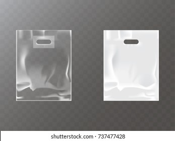 Transparent and white plastic or foil bag with hang hole isolated realistic vector illustration. Blank packet template for product packaging mock-up, brand ad design