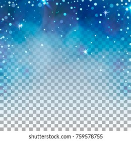 Transparent winter background. Blue ligth and snowflakes. New year and christmas design.