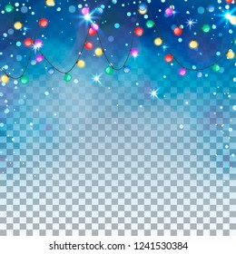 Transparent winter background with colorful garland. Blue ligth and snowflakes. Vector