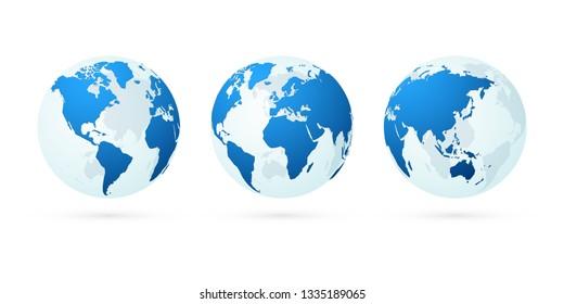 transparent world globe maps planet earth blue set