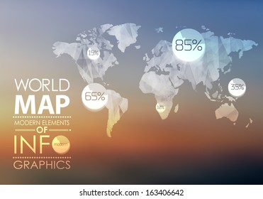 transparent World map in polygonal style on blur background . Vector background