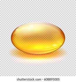 Transparent yellow capsule of drug, vitamin or fish oil macro vector illustration. Vitamin translucent pill drug, capsule translucent pharmaceutical