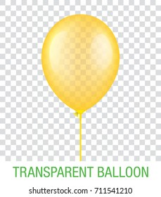 Transparent yellow vector balloon on a plastic stick, isolated on background. Realistic balloon illustration for party, celebration, festival, birthday or branding design decoration.