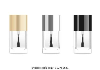 Transparet glass nail base tubes. Vector illustration