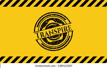 Transpire black grunge emblem with yellow background. Vector Illustration. Detailed.